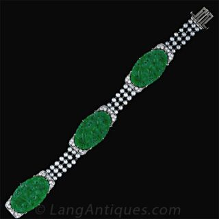 Art Deco Jadeite  Plaque, Diamond, Pearl and Platinum Bracelet