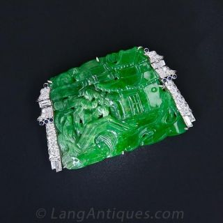 Art Deco Japanesque Carved Jade Pin