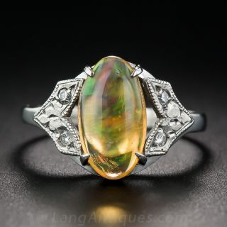 Art Deco Jelly Opal Platinum and Diamond Ring - 1
