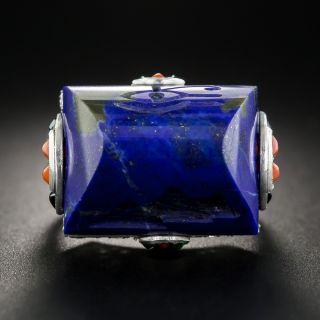 Art Deco Lapis Lazuli Egyptian Revival Ring