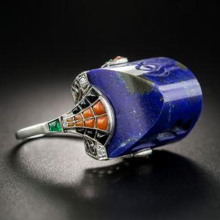 Art Deco Lapis Lazuli Egyptian Revival Ring - 3