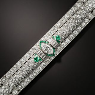Art Deco Marquise Diamond and Emerald Bracelet by Katz & Ogush - 2
