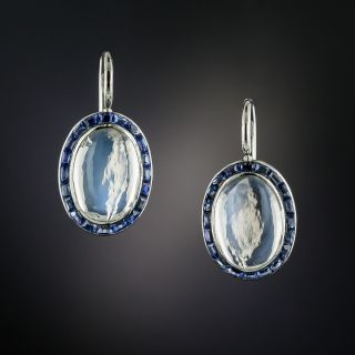 Art Deco Moonstone and Sapphire Earrings - 6
