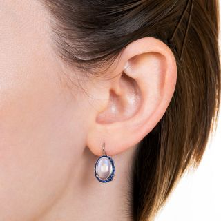 Art Deco Moonstone and Sapphire Earrings