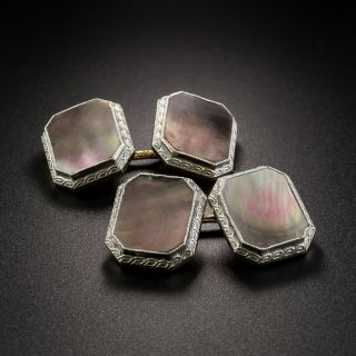 Art Deco Mother of Pearl Cufflinks by Larter - 2