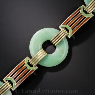 Art Deco Natural Burma Jadeite and Enamel Bracelet  by Wordley Allsopp and Bliss - 1