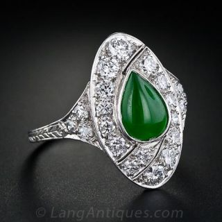 Art Deco Natural Burmese Jade and Diamond Ring - 1