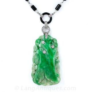 Art Deco Natural Burmese Jade Necklace - 1