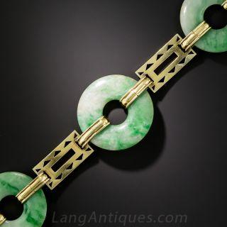 Art Deco Natural Burmese Jadeite & Enamel Bi Bracelet