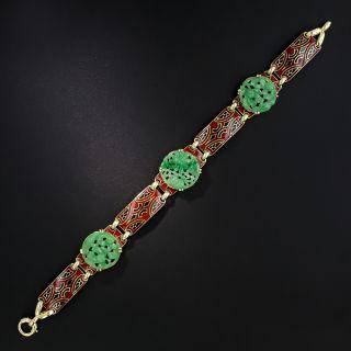 Art Deco Natural Carved Burmese Jade and Enamel Bracelet