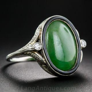 Art Deco Natural Jadeite and Diamond Ring