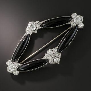 Art Deco Navette Shaped Onyx and Diamond Brooch - 1
