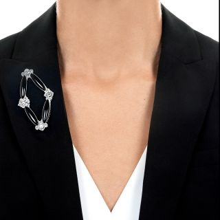 Art Deco Navette Shaped Onyx and Diamond Brooch