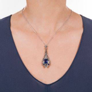 Art Deco No-Heat 3.80 Carat Sapphire and Diamond Lavalière Necklace - GIA