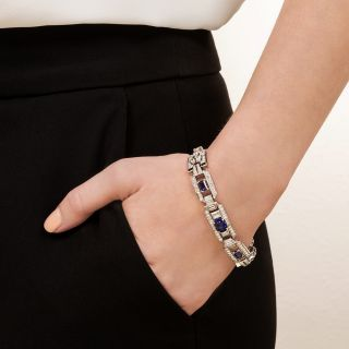 Art Deco No-Heat Ceylon Sapphire and Diamond Bracelet - AGL