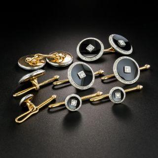 Art Deco Onyx and Diamond Dress Set by Krementz