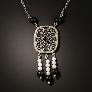 Art Deco Onyx and Pearl Dangle Filigree Necklace - 3