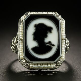 Art Deco Onyx Cameo Ring - 2