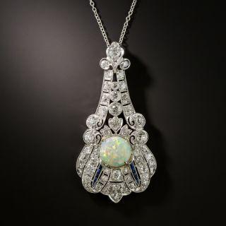 Art Deco Opal, Diamond and Sapphire Lavalière Necklace - 2