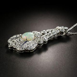 Art Deco Opal, Diamond and Sapphire Lavalière Necklace