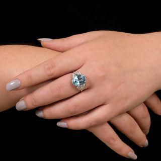 Art Deco 7.25 Carat Oval Aquamarine and Diamond Ring