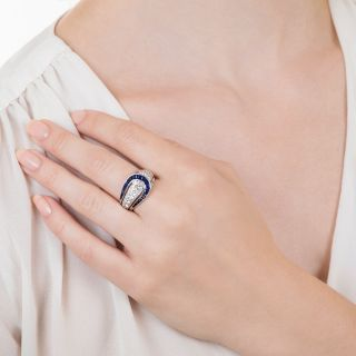 Art Deco Pear-Shape Diamond and Sapphire Ring