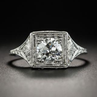 Art Deco Platinum .78 Carat Diamond Engagement Ring - GIA G SI1