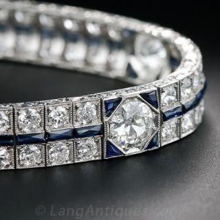Art Deco Platinum and Diamond Bracelet with Calibre Sapphires - 1