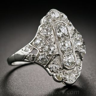 Art Deco Platinum and Diamond Dinner Ring