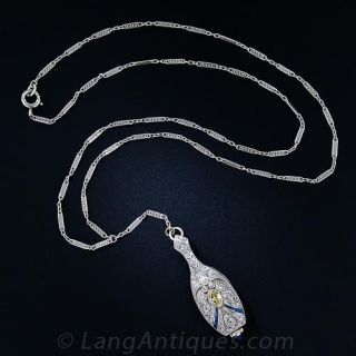 Art Deco Platinum and Diamond Lavaliere Necklace Watch