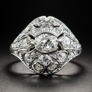 Art Deco Platinum and Diamond Ring - GIA