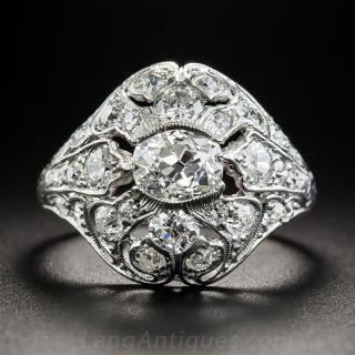 Art Deco Platinum and Diamond Ring - GIA