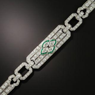 Art Deco Platinum Diamond and Emerald Bracelet - 2