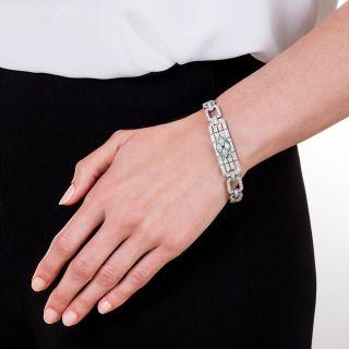 Art Deco Platinum Diamond and Emerald Bracelet