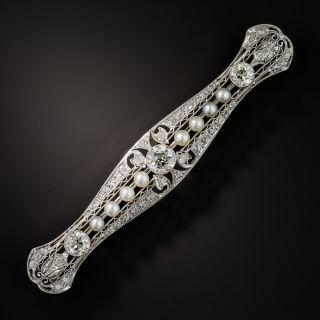 Art Deco Platinum Diamond and Natural Pearl Bar Pin - 1