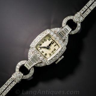 Art Deco Platinum Diamond Bracelet Watch - 1