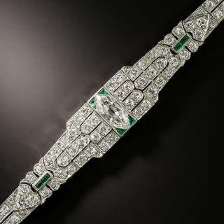 Art Deco Diamond and Calibre Emerald Link Bracelet - 2