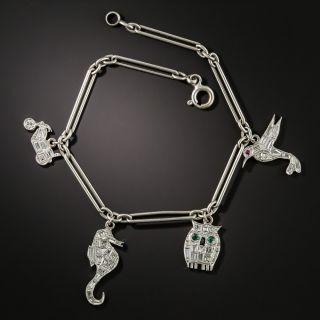 Art Deco Platinum Diamond Charm Bracelet - 2
