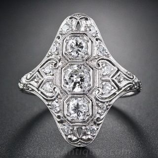 Art Deco Platinum Diamond Dinner Ring - 1