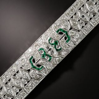 Art Deco Diamond and Green Glass Link Bracelet - 2