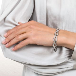 Art Deco Platinum Diamond Link Bracelet