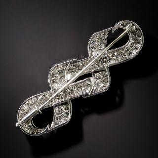 Art Deco Style Platinum Diamond Love Knot Brooch