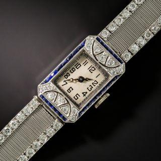 Art Deco Platinum Diamond Mesh Watch With Calibre Sapphires - 2