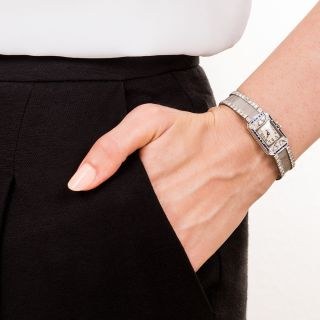 Art Deco Platinum Diamond Mesh Watch with Calibre Sapphires