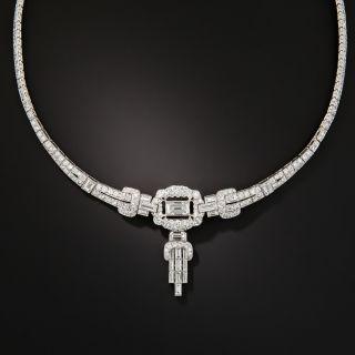 Art Deco Platinum Diamond Necklace - 1