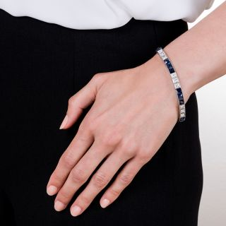 Art Deco Platinum Diamond No-Heat Sapphire Line Bracelet