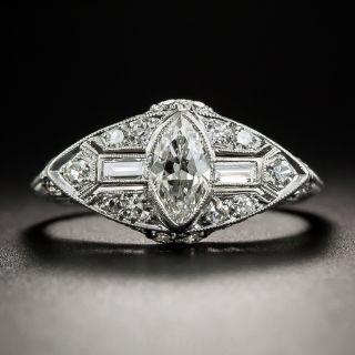 Art Deco Platinum Diamond Ring with Marquise Center - 1