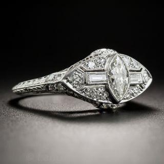 Art Deco Platinum Diamond Ring with Marquise Center