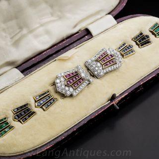 Art Deco Platinum, Diamond, Sapphire, Ruby, Emerald and Onyx Clips