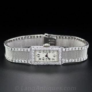 Art Deco Platinum Mesh and Diamond Watch
